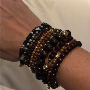 Jewelry - Stack of gold and wood beaded bracelets